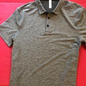 Lulu GRAY Polo S/S Shirt L Excellent Logo Lightwei